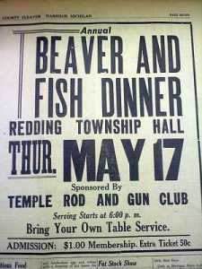 Ad for a beaver and fish dinner