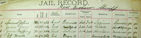 "Portion of jail record showing Carr's name and some information including what is termed his ""social condition."""