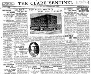 Front Page of The Clare Sentinel announcing the opening of the new hotel in Clare.