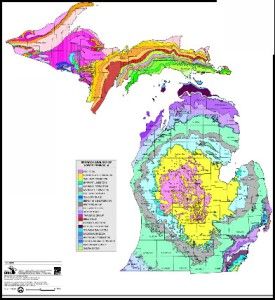 Types of bedrock in Michigan. The Michigan Basin is clearly visible.