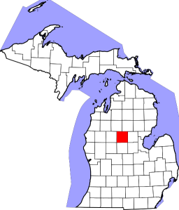 Map showing where Clare County is in Michigan
