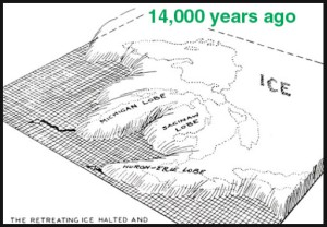 graphic showing the lobes of a glacier